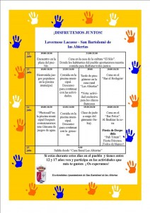 El dia 22 recibiremos la visita de 18  jovenes del municipio frances hermanado Lavernose-Lacasse. Se ha realizado una Programacion de actividades desde el dia22 al 24 de Julio que se realizaran en San Bartolomé de las Abiertas  con todos los jóvenes que quieran participar